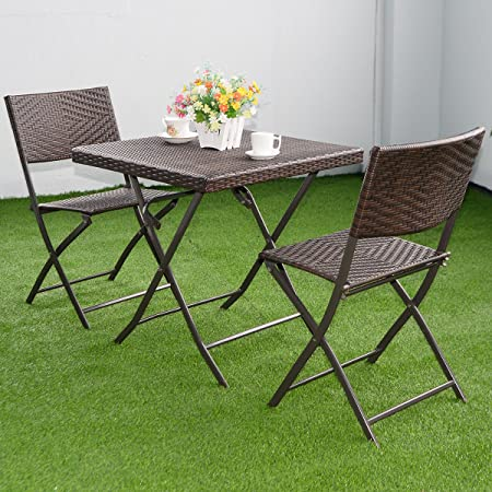 Amazon Com Wakrays Us Stock 3 Pc Outdoor Folding Table Chair Furniture Set Rattan Wicker Bistro Patio Brown Size1 Garden Outdoor