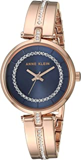 Anne Klein Women's AK/3248NVRG Swarovski Crystal Accented Rose Gold-Tone Bangle Watch
