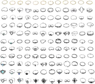 132PCS Bohemia Knuckle Ring Set Women Hollow Silver Fashion Finger Rings Vintage Stackable Knuckle Midi Rings Set