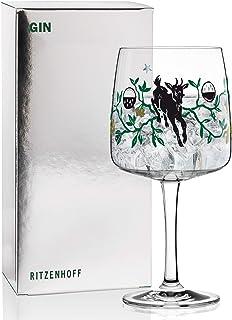 RITZENHOFF Gin Ginglas von Karin Rytter Faunus, aus Kristallglas, 700 ml, mit echtem Platin