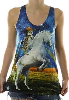 Cowboy Cat Riding a Unicorn Shooting Rainbows Women's Tank Top