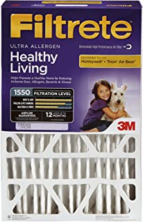 Filtrete 20x25x5, AC Furnace Air Filter, MPR 1550 DP, Healthy Living Ultra Allergen Deep Pleat, 1-Pack (Renewed)