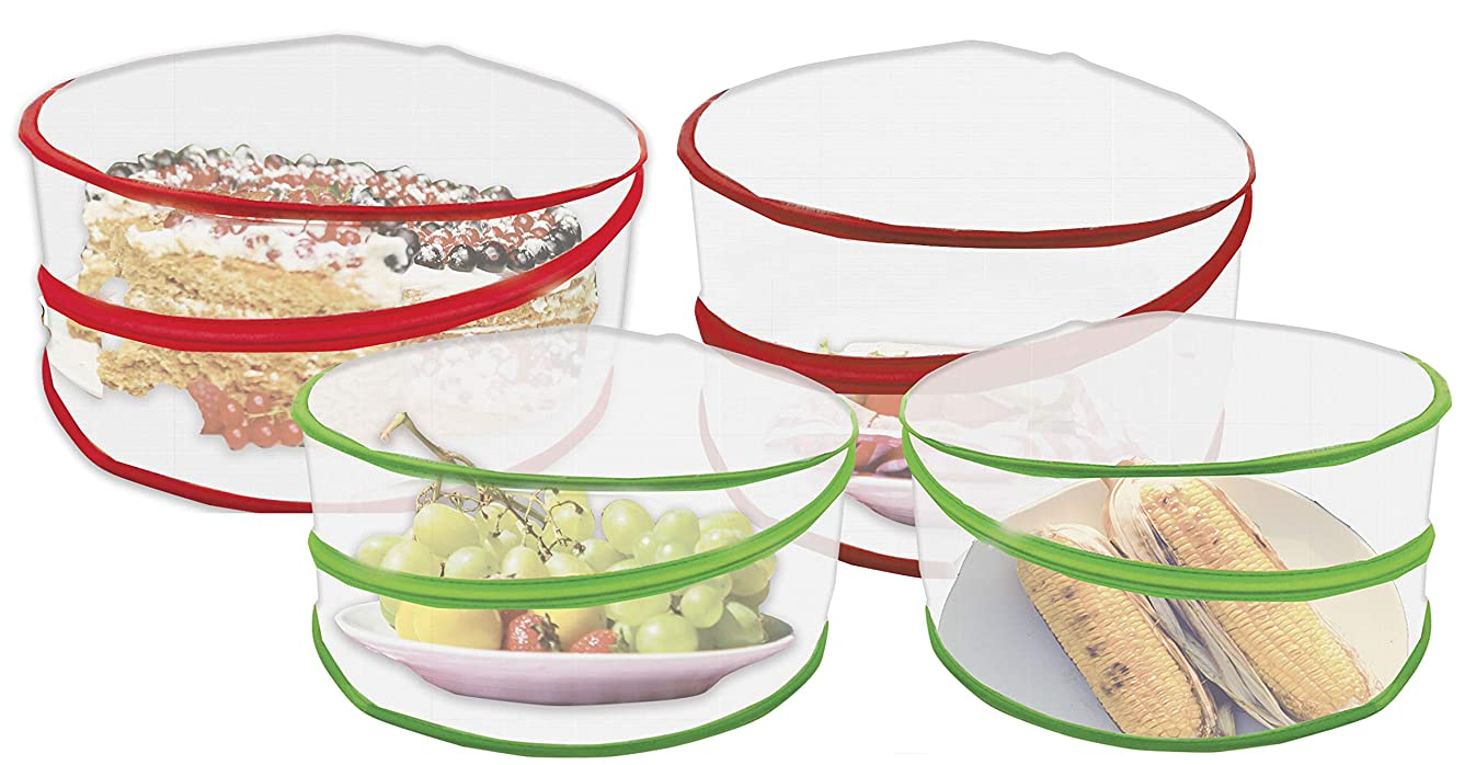 4 Pop Up Food Covers Protectors Set – Mesh Screen Collapsible Bottomless Design With Carry Ring – Keeps Flies And Insects Away At Outdoor Picnics Camping And More