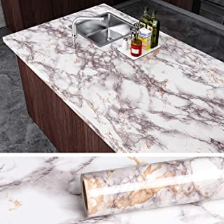 VEELIKE Grey Marble Contact Paper Counter Top Covers Peel and Stick Wallpaper Granite Kitchen Wall Covering Self Adhesive ...