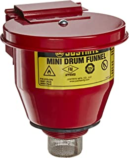 Justrite 08201 Steel Small Safety Drum Funnel with Self Closing Cover, 1 qt Capacity, 4-1/2