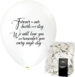 Remembrance Bereavement Memorial Funeral 30pk White Biodegradable Helium Quality Balloon Releases, Celebration of Life, Condolence – Personalised