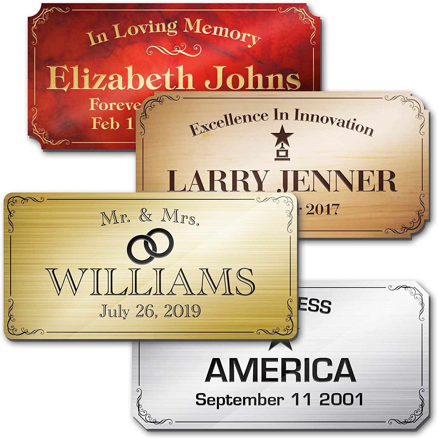 Elegant Engraved Plate Personalized Memorial Plate Grave Plaque, Customized Message, 2