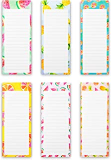 Juvale 6-Pack To Do List - Magnetic Notepads for Fridge, Grocery Shopping, and Reminders, Colorful Fruit Designs, 60 Sheet...