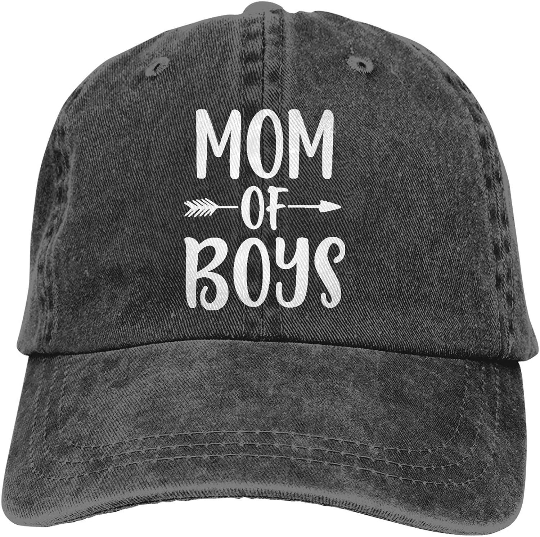 KKMKSHHG Mom of Boys Baseball Cap, Adjustable Vintage Cotton Denim Dad Hat for Women