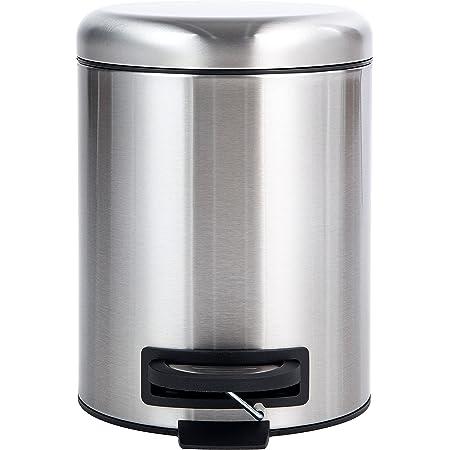 Amazon Basics Poubelle ronde à pédale, acier inoxydable, 5L