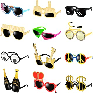 Ocean Line Funny Glasses - 12 Pairs Novelty Party Costume Sunglasses, Fun Party Favors, Fancy Photo Booth Props Toys, Halloween Party Supplies Decoration for Kids and Adults