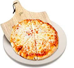 """Hans Grill Pizza Stone for Oven and Grill/BBQ Cook Pizzas in Seconds 15"""" Circular Board with Free Wooden Pizza Peel X Large 15 Inches Easy Handle Baking 