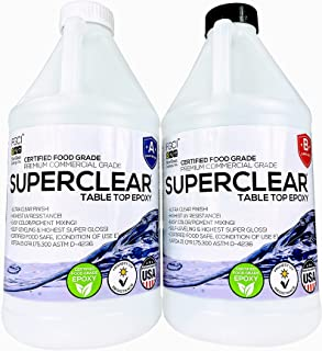 Superclear Premium Amazing Clear Cast Epoxy Pourable Resin, Food Safe Epoxy for Wood Tables, Concrete Countertop Sealers, ...