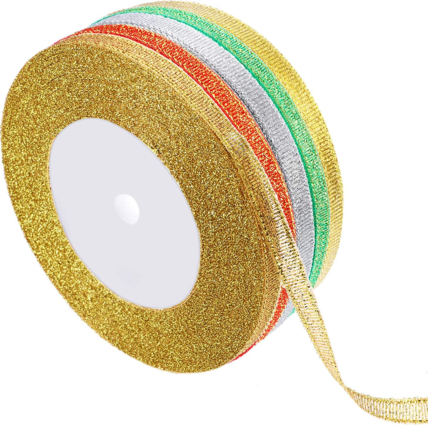 Gejoy 5 Rolls 0.24 inch Glitter Ribbons Metallic Ribbons for Crafters Gifts Wrapping Decorations DIY Crafts Arts (Gold, Silver, Colorful Gold, Green, Red)
