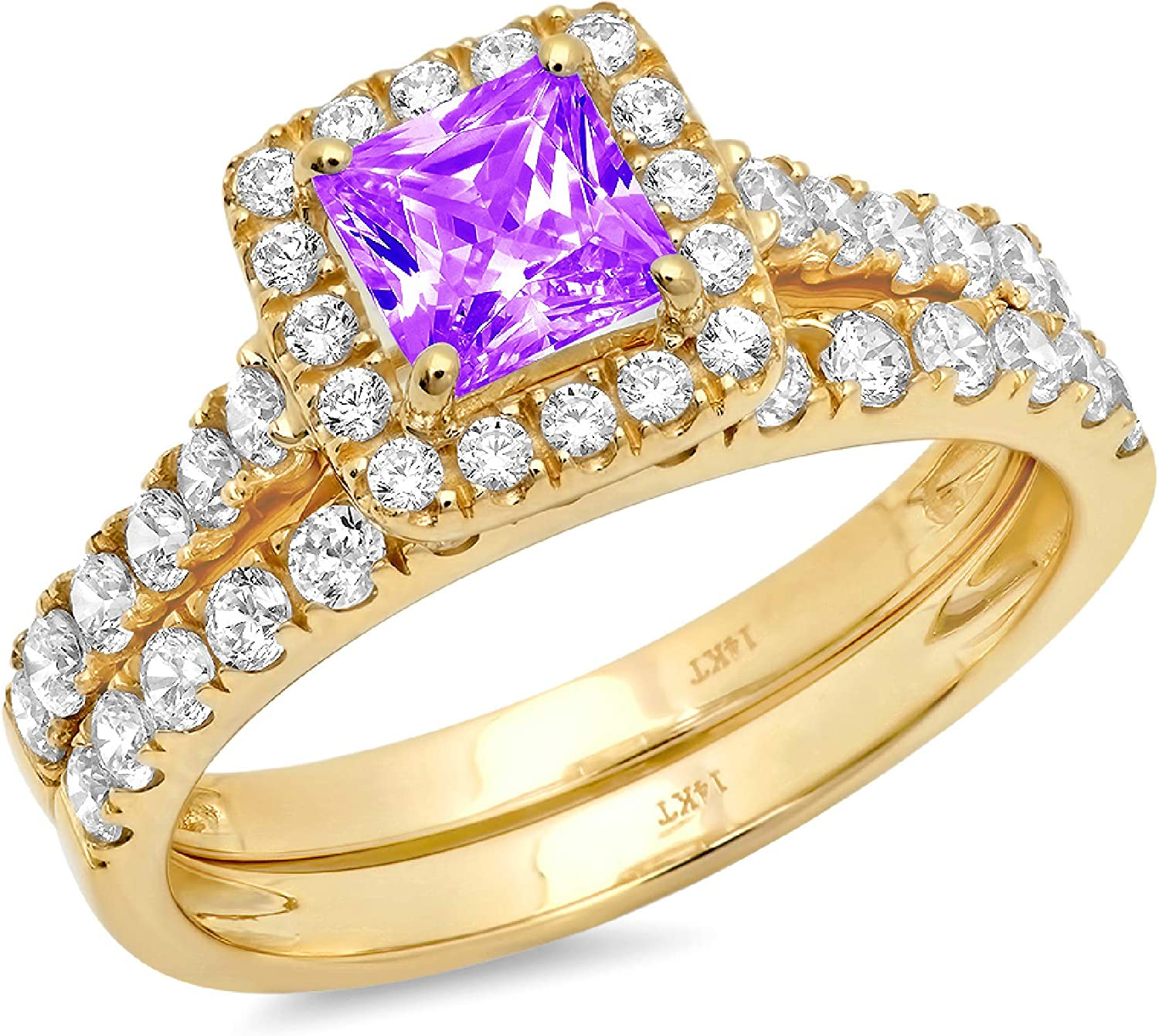 1.60ct Princess Cut Halo Pave Solitaire Accent Natural Purple Amethyst Engagement Promise Statement Anniversary Bridal Wedding Ring Band set Real Solid 14k Yellow Gold