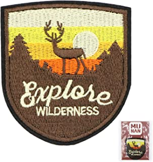 MUNAN sew on Patches Outdoor Brown Deer Patch Iron On Sewing Embroidered Patches Badge Applique for Clothes Jacket Jeans Cap