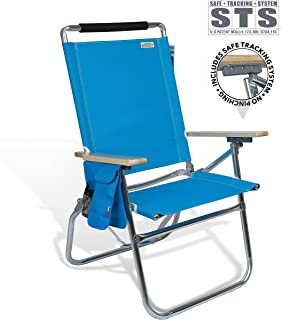 High Seat Beach Folding Chair Lightweight Alumium Frame Recline with Cup Holder and Storage Pouch for Outdoor Camping Hiking