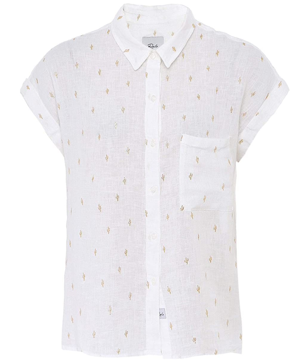 Rails Women's Linen Blend Whitney Golden Cactus Shirt White