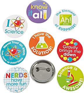 Fun Express Science Party Mini Buttons (4dz) for Birthday - Jewelry - Pins - Novelty Buttons - Birthday - 48 Pieces