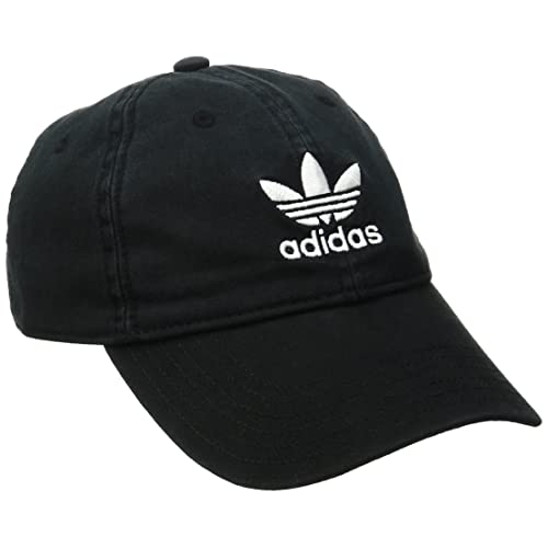 589c01c2 adidas Men's Originals Relaxed Strapback Cap, Black/White, One Size