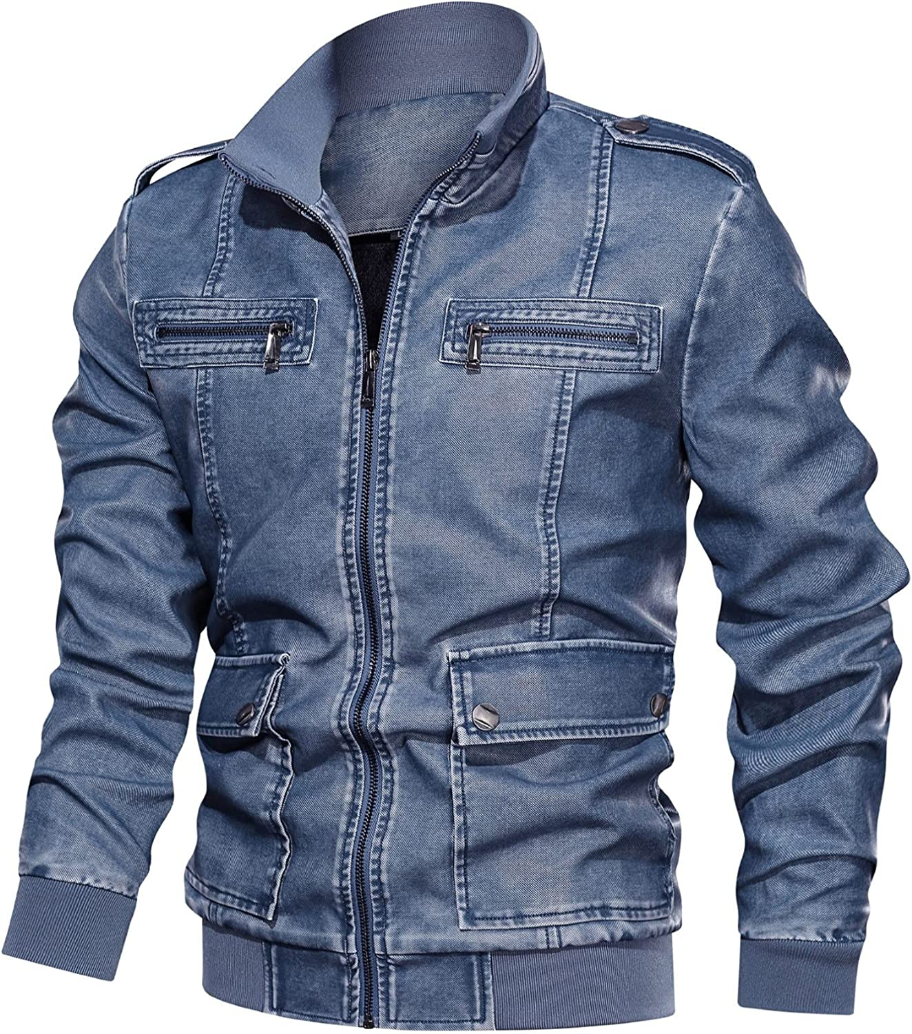 Men Motorcycle Faux Leather Jacket Slim Fit Bomber Jackets Casual Stand Collar Pu Leather Zip Up Jackets Coats