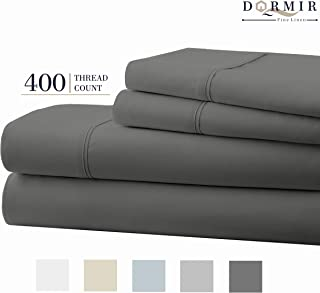 Dormir 400 Thread Count 100% Cotton Sheet Dark Grey King Sheets Set, 4-Piece Long-Staple Combed Cotton Best Sheets for Bed, Breathable, Soft & Silky Sateen Weave Fits Mattress Upto 18'' Deep Pocket