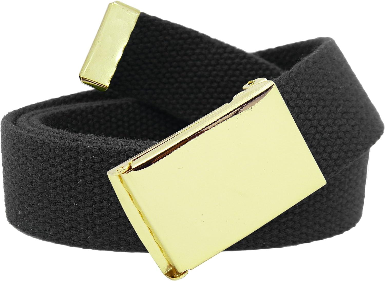 Boy's School Uniform Gold Military Flip Top Buckle with Canvas Web Belt