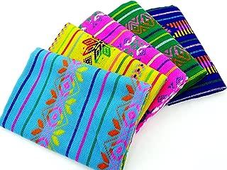 Mexican Fabric Bundle, Mexican Fabric by The Half Yard, Aztec Fabric, Purple, Pink, Aqua Blue, Green and Yellow Mexican Woven Fabric, Tribal Fabric Half Yard BUN135