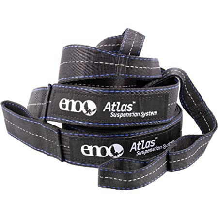 """ENO, Eagles Nest Outfitters Atlas Hammock Straps, Suspension System with Storage Bag, 400 LB Capacity, 9' x 1.5/.75"""", Black/Royal"""