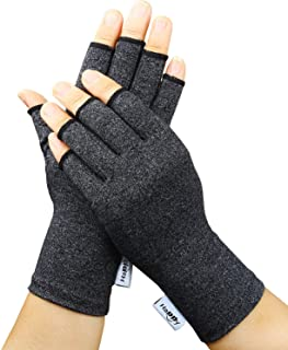 2 Pairs Arthritis Gloves, Compression Gloves for Rheumatoid & Osteoarthritis,Joint Pain Relief, Carpal Tunnel Wrist Support,Computer Typing,Fingerless Gloves for Women (Black, Medium)