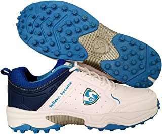 SG Latest Superior Cricket Shoes with Rubber Spikes for Men - 9 UK (White/Aqua)
