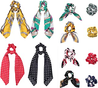 12Pcs Silk Satin Hair Scrunchies Hair Scarf with Bow Silk Elastic Hair Bands for Ponytail Holder Hair Accessories for Women