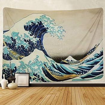 Amkun - Tapiz de pared, gran ola de Kanagawa, tapiz de pared con arte de la naturaleza, decoración para salón, dormitorio, decoración de dormitorio, Wave, 150 x 130 cm