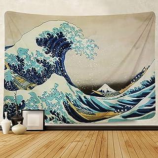 Amkun Tapiz de pared para colgar en la pared, gran ola Kanagawa, tapiz de pared con decoración para el hogar, sala de estar, dormitorio o decoración, Wave, 150x130cm