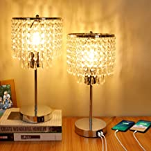 Crystal Table Lamp, 3-Way Dimmable Touch Bedside Lamp with Dual USB Charging Port, Nightstand Lamp with Crystal Shade, Lam...
