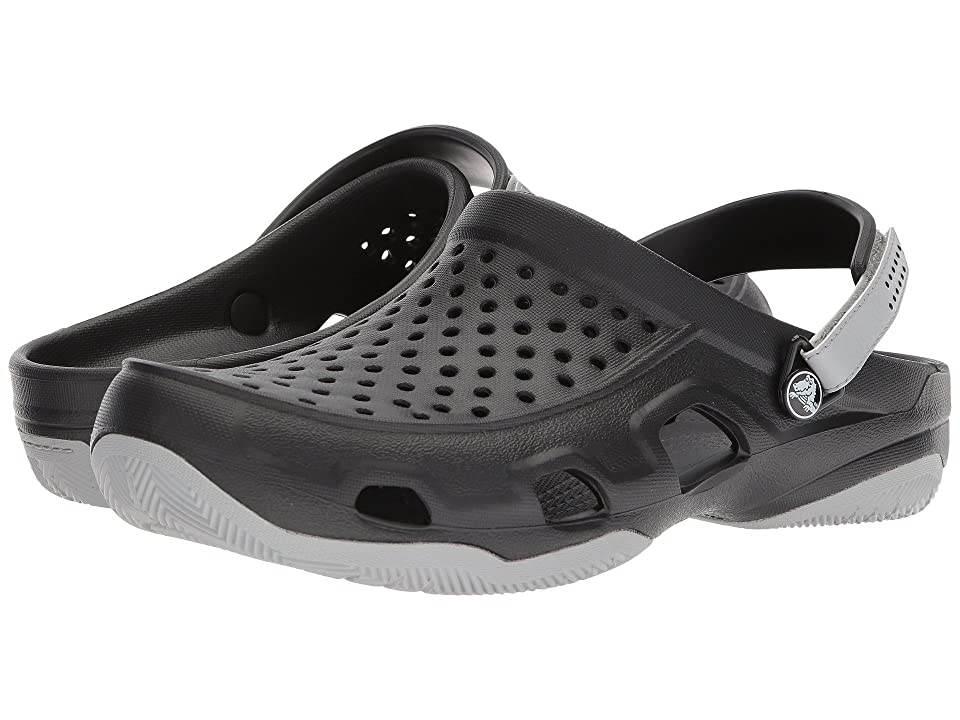 Crocs Swiftwater Deck Clog (Black/Light Grey) Men