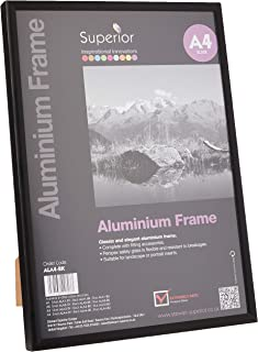 Stewart Superior A4 Brushed Aluminium Picture Frame with Perspex Safety Glass - Black