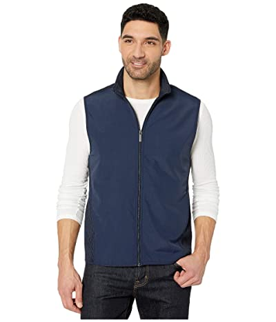 Perry Ellis Solid Stretch Full Zip Fleece Sleeveless Vest (Dark Sapphire) Men