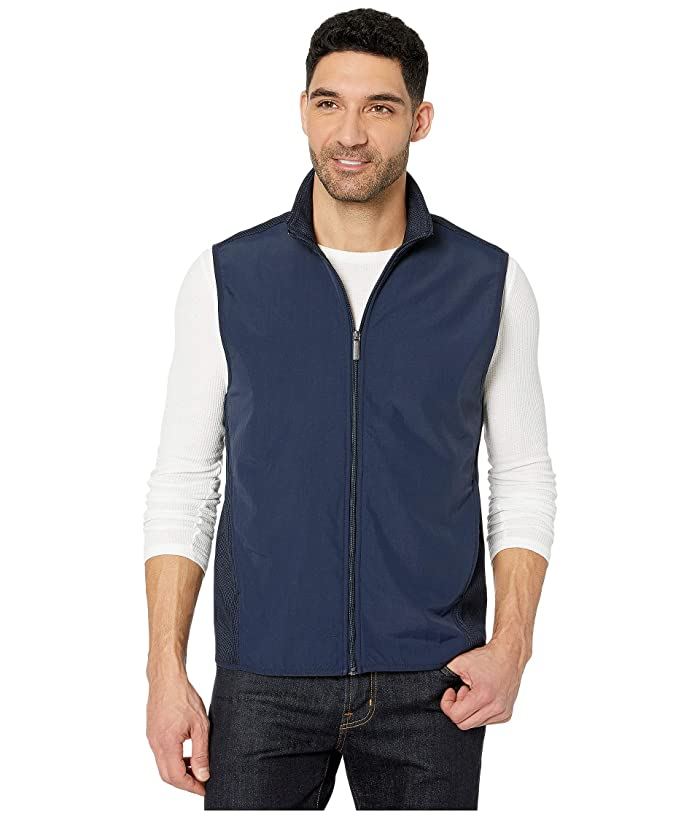 Perry Ellis  Solid Stretch Full Zip Fleece Sleeveless Vest (Dark Sapphire) Mens Clothing