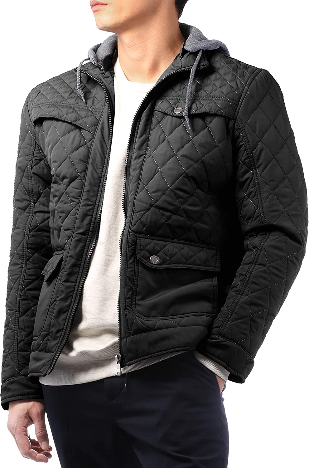 Hat and Beyond Mens Premiumd Quilted Winter Jacket Sherpa Fur Lined Padded Outdoor Outerwear Coat