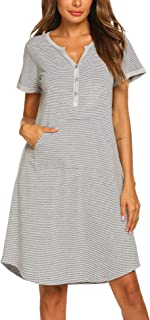 Ekouaer Nightgown Women's Nightshirt Short Sleeve Cotton Striped Long Sleepwear with Front Pocket S-XXL