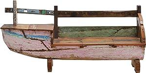 Ploß 1020115 Gartenbank Bootsmöbel aus dem Teak recycelter Fischerbooten mit Original-Farbresten in den Maßen B/T/H 210 x 50 x 90 cm