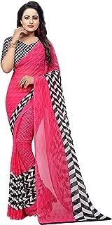 GoSriKi Georgette with Blouse Piece Saree (PIKU Pink-Flex Free Size)