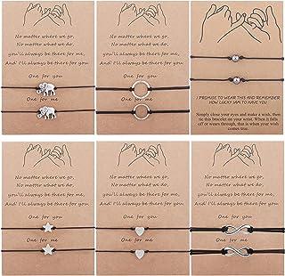 YADOCA 12PCS Pinky Promise Bracelet Anklets Adjustable Friendship Couple Family Long Distance Bracelet with Message Card H...
