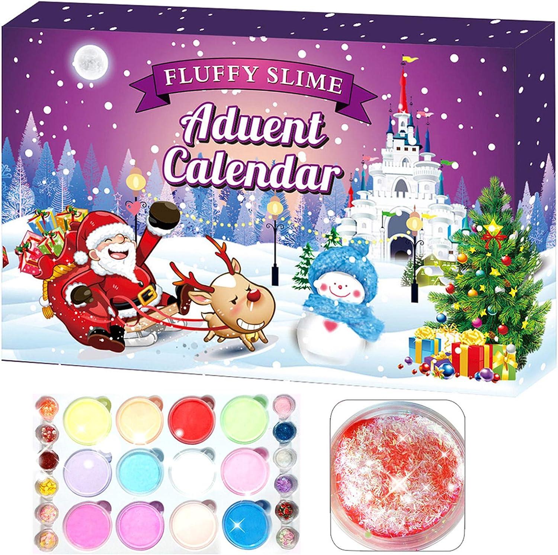 Calendario de Adviento Slime de 24 Piezas 2020, Cuenta Regresiva para Navidad, Juguetes sensoriales, Tema de decoración navideña, Regalos Sorpresa Juguetes de Bricolaje para niños