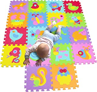 MQIAOHAM Children Puzzle mat Play mat Squares Play mat Tiles Baby mats for Floor Puzzle mat Soft Play mats Girl playmat Carpet Interlocking Foam Floor mats for Baby P010011G300918