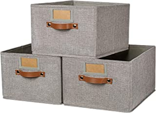 """OLLVIA Large Fabric Storage Bins 3 Pack, 15.7x11.8x8.3"""" Foldable Storage Baskets with Labels, Decorative Storage Bins for Shelves, Rectangle Closet Baskets, Organizing Nursery for Home