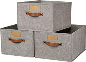 OLLVIA Large Fabric Storage Bins 3 Pack, 15.7x11.8x8.3 Foldable Storage Baskets with Labels, Decorative Storage Bins for S...