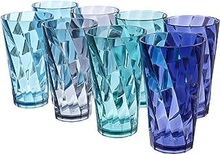 Optix 20-ounce Plastic Tumblers | set of 8 in 4 Coastal Colors