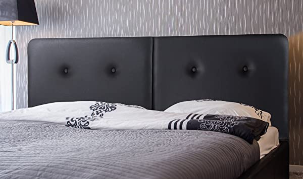 Olee Sleep Deluxe Upholstered Faux Leather Steel Headboard With Button Black 43HB02F Full
